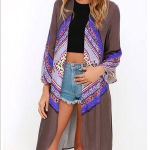 O'Neill Hattie Purple-Grey Print Kimono Top